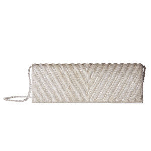 Adrianna Papell Noreen Chevron Beaded  Flap Clutch
